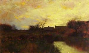 River Landscape at Dusk
