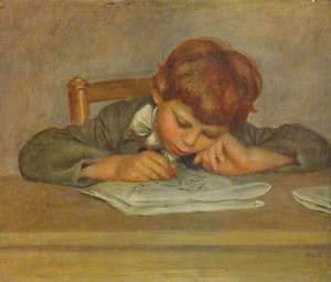 A Little Boy Writing