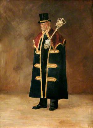 Beadle to Charles Hawkins Hext (1851–1917), When Mayor of Bodmin (1894–1895), with Mace