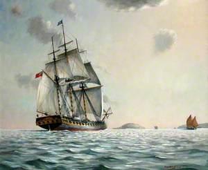 HM 'Looe' Approaching Looe Island, c.1740