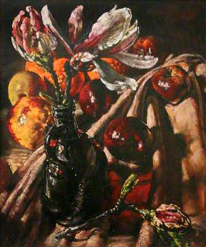 Magnolias, Bottle and Fruit