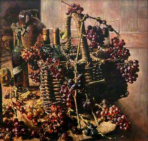 Basket, Bottles and Grapes