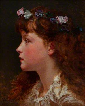 Young Girl with Garland of Flowers in Her Hair