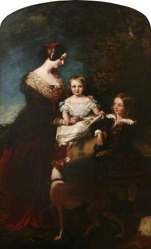 Caroline, 3rd Countess of Mount Edgcumbe (1808–1881) with Her Two Youngest Children, Charles and Ernestine