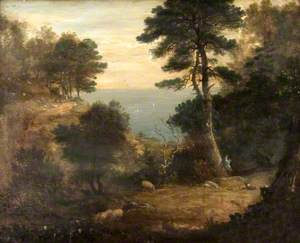 Drovers with Sheep on a Wooded Clifftop Path