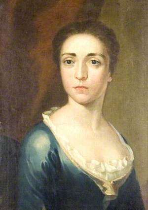 Portrait of a Young Woman in a Blue Dress