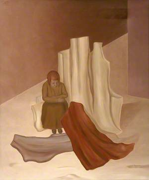 Woman Seated among Sculptured Forms