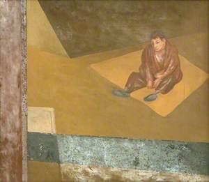 Seated Boy on Yellow Carpet
