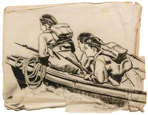 Three Armed Soldiers in a Boat
