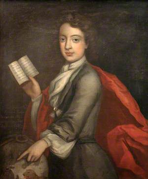 Robert Coster, Aged 8, with Book and Globe