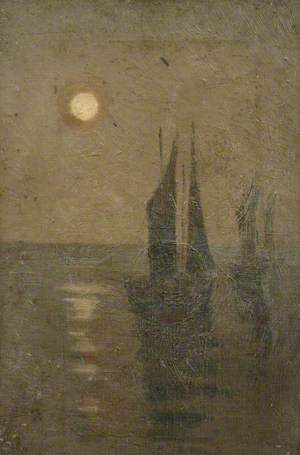 Ships on Water by Moonlight