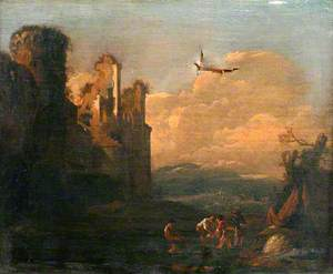 Landscape with Figures and Ruined Castle
