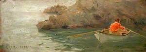 Boy Rowing out from Rocky Shore