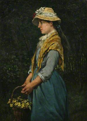 Cornish Girl with Basket of Primroses