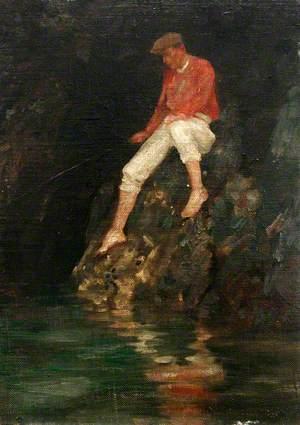 Boy Fishing on Rocks