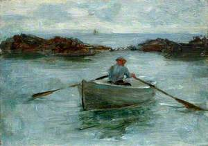 Man Rowing a Dinghy
