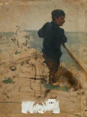 Sketch of a Boy Sculling a Boat