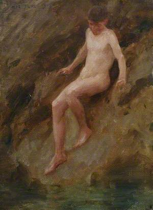Nude Boy on a Rock