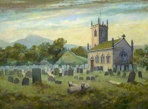 Church with Sheep in a Graveyard (St Peter's Church, Fairfield, Derbyshire)