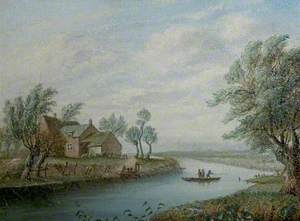 Boat House and Ferry on the Derwent (From the Holmes to Old Meadows, 1787)