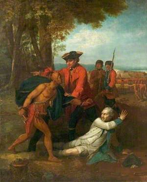 General Johnson Saving a Wounded French Officer from a North American Indian