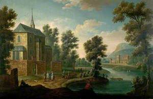 River Scene with a Road by a Church