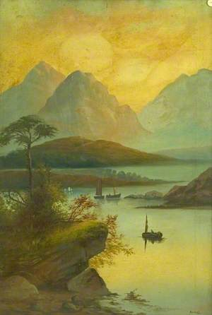 Mountain Landscape with Boats on a Lake*
