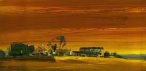Farm with Yellow Sky