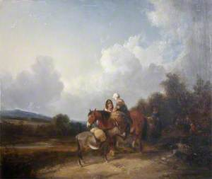 Travellers by a Gypsy Encampment