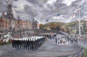 Prince Philip Presents the Queen's Colour to the Britannia Royal Naval College, Dartmouth, Devon, 1 July 1958