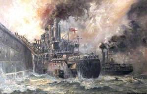 HMS 'Vindictive' Storming Zeebrugge Mole