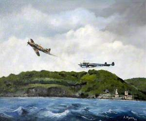 Hurricane Fighting Dornier over Dartmouth Harbour, Devon in 1940