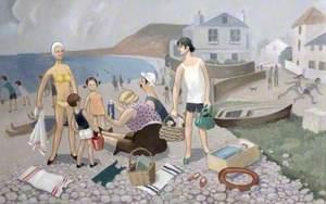 Family on the Beach at Budleigh Salterton, Devon