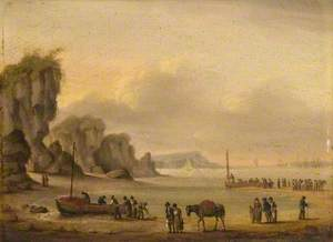Coastal Scene with Shipping and Figures
