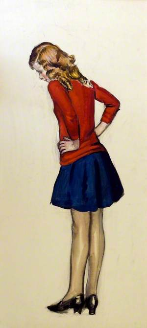 Young Girl in Red and Blue