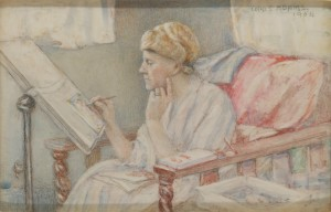 The Artist's Wife – Painting from an Armchair, 1954
