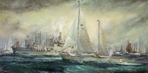 The Return of Sir Francis Chichester (1901–1972), in 'Gypsy Moth IV' to Plymouth on Conclusion of His Single-Handed Voyage Circumnavigating the World, via the Cape of Good Hope, Australia and Cape Horn, May 1967