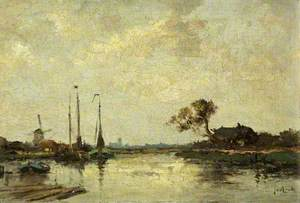 River with Barges and a Windmill