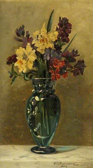 Wallflowers with Daffodils in a Glass Vase