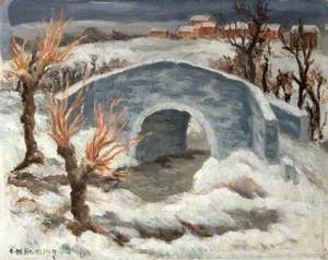 Snow Scene with a River and a Bridge