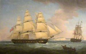 A Portrait of an East Indiaman off Dover, Kent