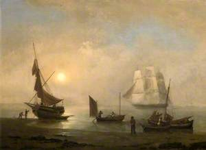 Sailing Ship and Fishing Boats on the Shore