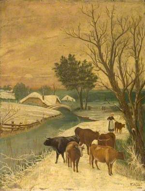 Snow Scene with a Bridge, Cows and a Woman with a Calf