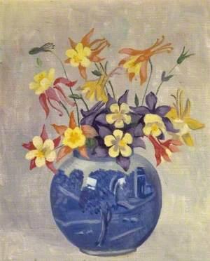 Columbine in a Blue Jar