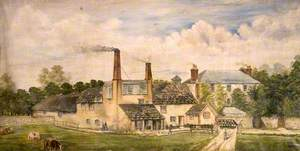 Swanage Brewery, Dorset, with Figures and a Cow