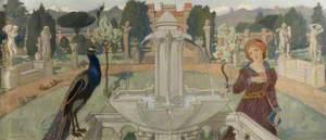 Peacocks and Fountain