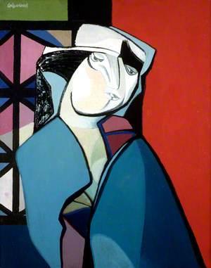 Woman by a Leaded Window