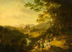 Rosslyn Castle with Washerwomen and Cattle