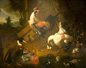 A Cock with a Hen and Three Ducks