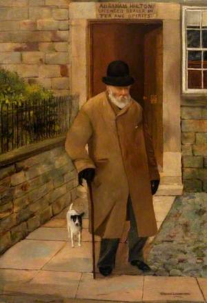 Old Gentleman with a Jack Russell Leaving an Off-Licence